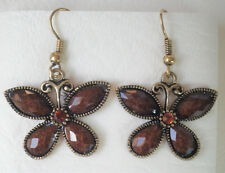Gold tone brown faceted glass butterfly drop earrings on hooks Approx. 4cm