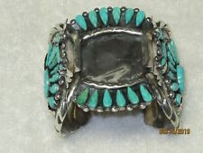 STERLING SILVER TURQUOISE WATCH CUFF BAND JEWELRY NATIVE