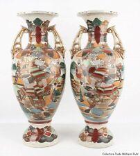 Japan 20. Jh. Große Vasen - A Pair Of Japanese Satsuma Pottery Vases - Japonais