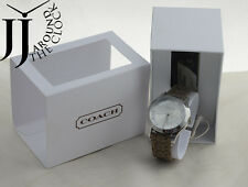 New Coach Maddy Womens Classic Signature Logo Brown Leather Strap Watch 14501794