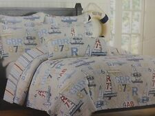 2 pc Authentic Kids Sail Boat Sailing Full / Queen Quilt & Standard Sham NIP