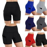 Womens High Waist Yoga Shorts Pocket Cycling Biker Hot Pants Sports Legging