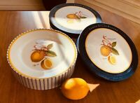 "Set(s) Of 4: Williams Sonoma Lemon Botanical 8 7/8"" Salad Plates MINT!!"