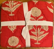 NEW Pottery Barn Lola Patchwork EURO Sham RED