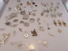 VTG EST LARGE 65 PIECE Sterling Silver 925 Necklace Pendant & Bracelet Charm Lot