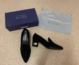 Stuart Weitzman Russell&Bromley Black Suede/Gold Sparky Pointed Heels,UK6/US8/39