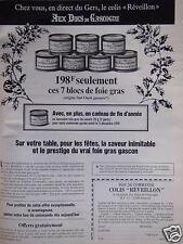 PUBLICITÉ 1978 AUX DUCS DE GASCOGNE BLOCS DE FOIE GRAS - ADVERTISING