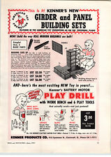 1957 PAPER AD Kenner Toy Girder and Panel Building Sets Play Drill