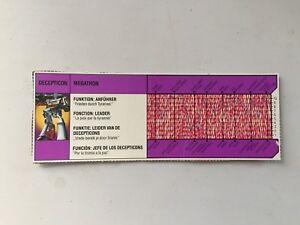Transformers G1 1985 MEGATRON MB milton bradley tech spec bio card