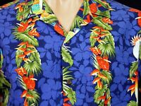 RJC Hawaiian Aloha Camp Shirt L Blue Floral Parrots 100% Cotton