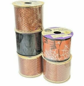 """Lot Of 5 Halloween 2.5"""" Craft Bow Ribbon Spider Web Black Orange Crafters Square"""