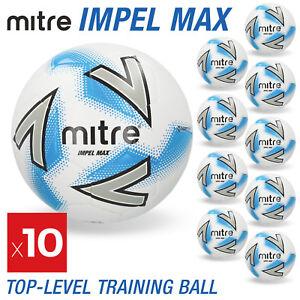 10 x Mitre Impel Max Footballs White - Sizes 3, 4 & 5 - Brand New