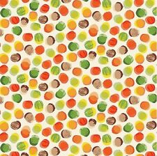 1YD Forest Friends AUTUMN POLKA DOTS Watercolor Orange Green Makower UK Fabric
