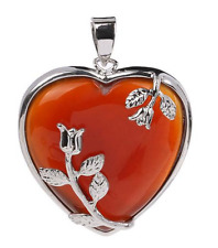 Natural orange carnelian heart shape pendant lovers couples gift sincerity love