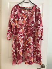 Boden Pink Rosebud Linen Tunic Dress Excellent 14 Us 18 U.K.