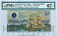 1988 AUSTRALIA $10 BANKNOTE POLYMER BICENTENNIAL - CERTIFIED PMG 67 EPQ SUPERB