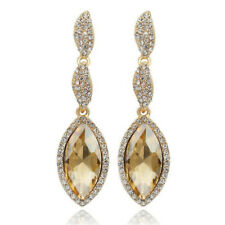 Vintage Champagne tear pear Luxury Hollow Women Long Drop Stud Earrings E1315