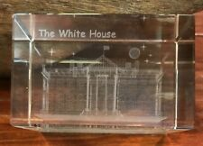 3D Laser Crystal Glass Etched Engrave Paperweight Stand THE WHITE HOUSE
