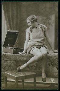 French risque woman record player nude original vintage old 1920s photo postcard