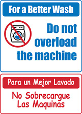 Laundry Do Not Overload Machine Bilingual Adhesive Vinyl Sign Decal