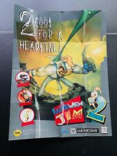 Earthworm Jim 2 🔥 Sega Genesis POSTER Brochure no manual box cart 🔥