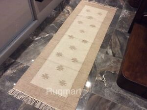 Natural Cream Beige Ethnic Recycled Cotton Rich Jute Hall Rugs Runner 70x200cm