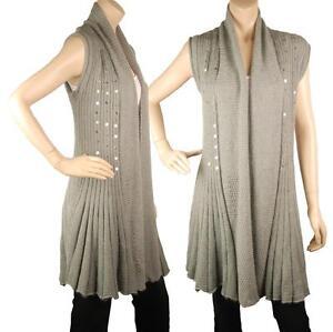 ConMiGo BS210 Glamorous Sleeveless Grey Angora Sequin Cardigan
