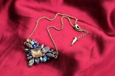 Exquisite MULTI STRASS COLLANA CATENA BRONZO BIB collana pendente UK Venditore