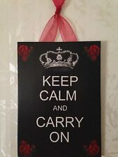 """KEEP CALM AND CARRY ON"" with Crown Red Roses Plaque Wall Decor Sign French"