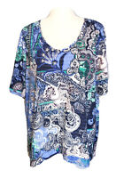 Chicos Tunic Top XL Size 3 Womens Knit Stretch Pullover Short Sleeves