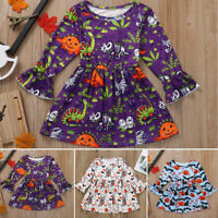Toddler Baby Girl Kids Halloween Cartoon Princess Flare Long Sleeve Dress Outfit