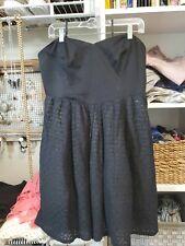 Women's Anthropologie Black Cotton Moulinette Soeurs Strapless Dress 14
