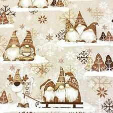 992. Christmas Dwarfs in Brown 100% Cotton Fabric.