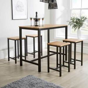 Kitchen Dining Breakfast Bar Set Wooden Table Black Metal Frame with 4 Barstools