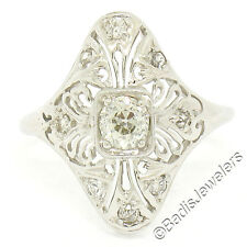 Antique Art Deco 14K Gold .54ctw Old Mine Cut Diamond Filigree Dinner Ring Sz5.5