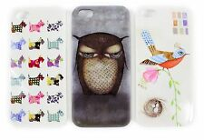 APPLE IPHONE 5/5S HARD BACK COVER PROTECTOR PRINTED DOG OWL BIRD DESIGNS PRETTY