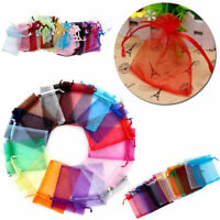 5 Sizes 25/100Pcs Organza Bags Gift Wrap Candy Jewelry Pouch Wedding Party Favor