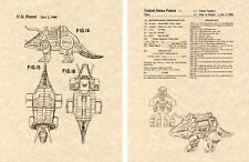 Transformers SLAG (SLUG) DINOBOT US Patent Art Print READY TO FRAME Ohno 1984 G1