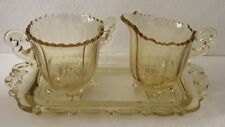 Cambridge Elegant Glass Martha No 250 Gold Krystol Individual Creamer Sugar Tray
