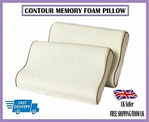 1X LARGE CONTOUR MEMORY FOAM PILLOW ORTHOPEDIC HEAD NECK BACK SUPPORT PILLOWS
