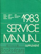 SHOP MANUAL SERVICE REPAIR 1983 CHRYSLER DODGE PLYMOUTH BOOK