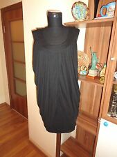 MAILLE DEMOISELLE BLACK STRETCH JERSEY DRAPED LAYERED CASCADING TANK TOP-SIZE 1