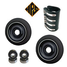 HPS PRO STUNT SCOOTER SET 2 110mm BLACK CORE WHEELS ABEC 11 BEARINGS QUAD CLAMP