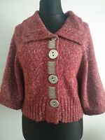 Nina Murati Women's Red Mix Chunky Cardigan Size 1 UK 12 Big Button Wide Sleeves