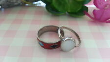 Beautiful Two Vintage White Gem Red Enamel Rings Sterling Silver *Size 5.5 *D176
