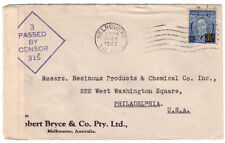 Australia #189 tied on Censored 1942 cover to Usa