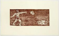 Richard Bosman: Cain and Able, 1981. Signed, Limited Edition, Fine Art Woodcut.