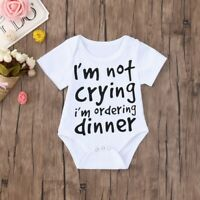 Cute Summer Newborn Baby Boys Girls Funny Letter Print Romper Jumpsuit Clothes