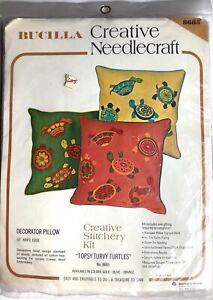 Vintage Bucilla Creative Needlecraft Topsy Turvy Turtles Pillow Stitchery Kit