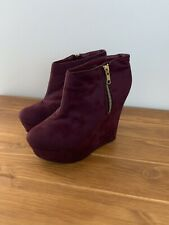 Womens Burgundy Zip Up Wedge Boot Shoe Size Uk 4 Winter By Fiore
